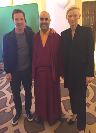 Gelong Thubten with Benedict Cumberbatch and Tilda Swinton